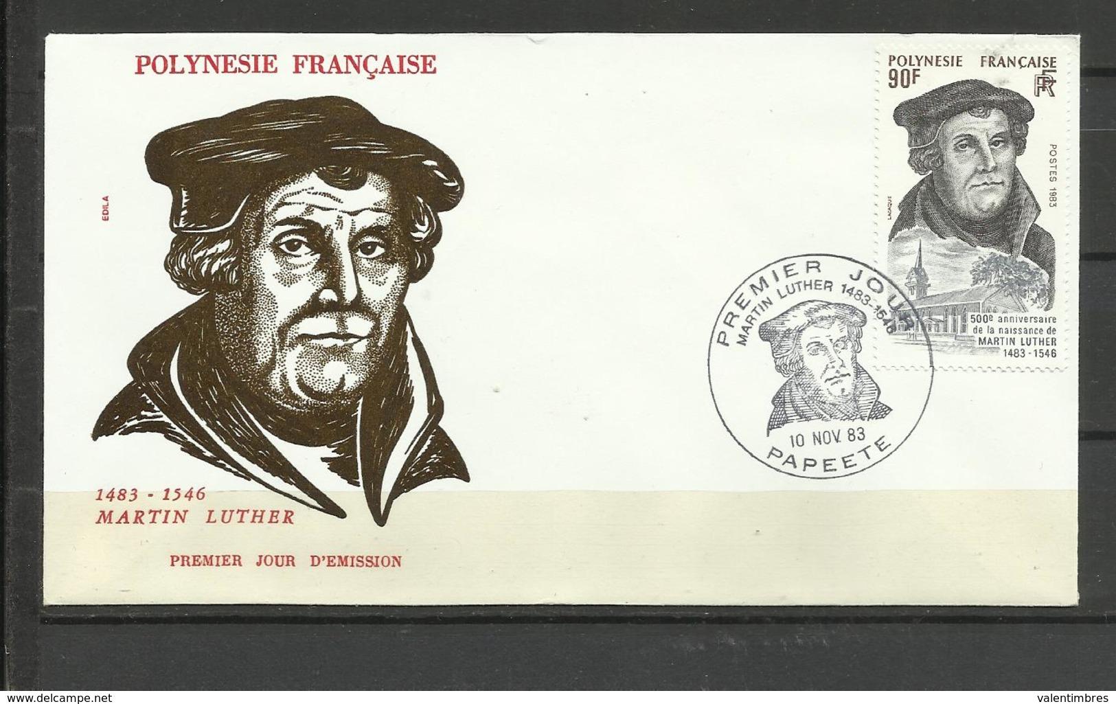 Polynésie  FDC YT 208 Martin Luther Papeete 10.11.83 - Frans-Polynesië