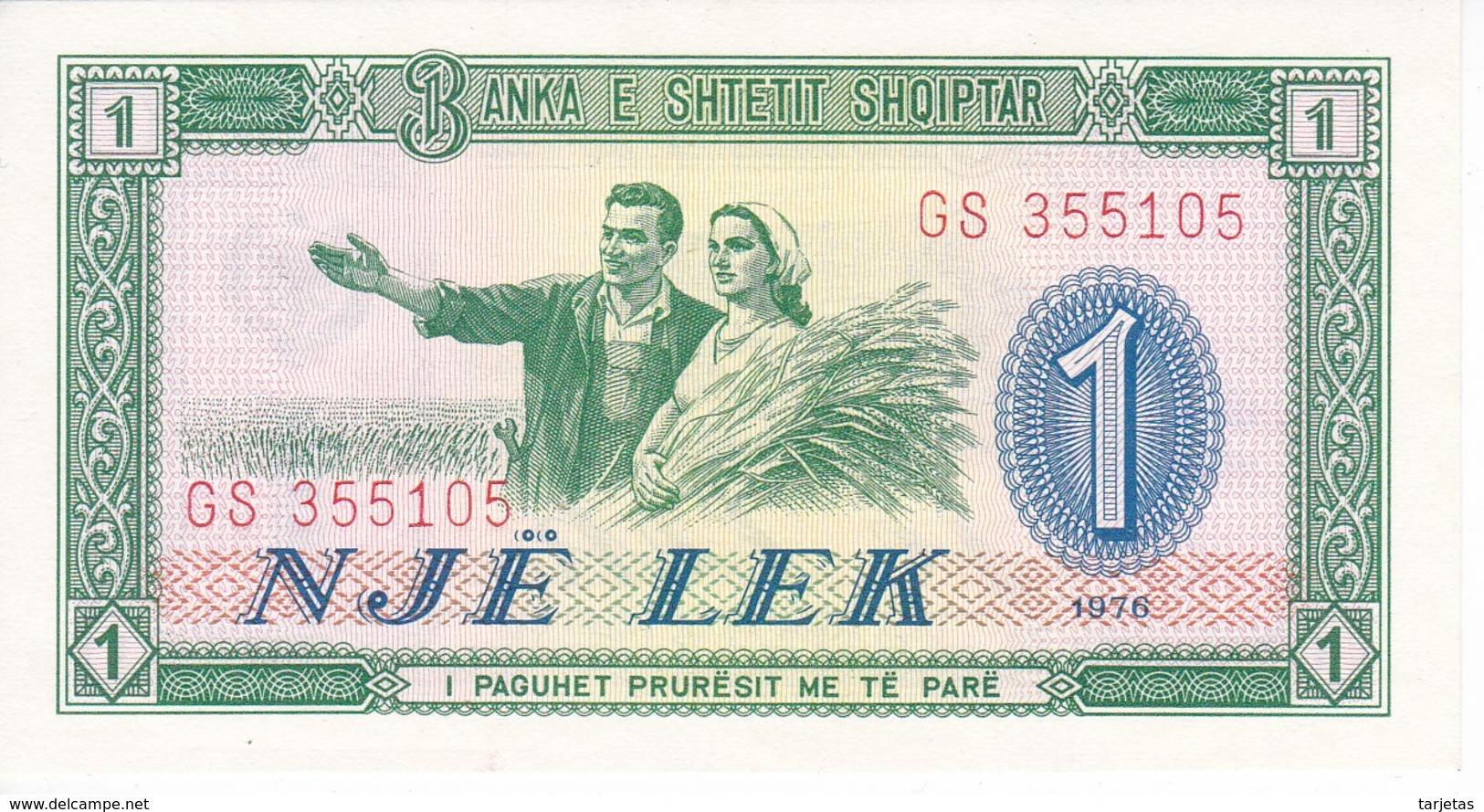 BILLETE DE ALBANIA DE 1 LEK DEL AÑO 1976 EN CALIDAD EBC (XF) (BANKNOTE) - Albanie