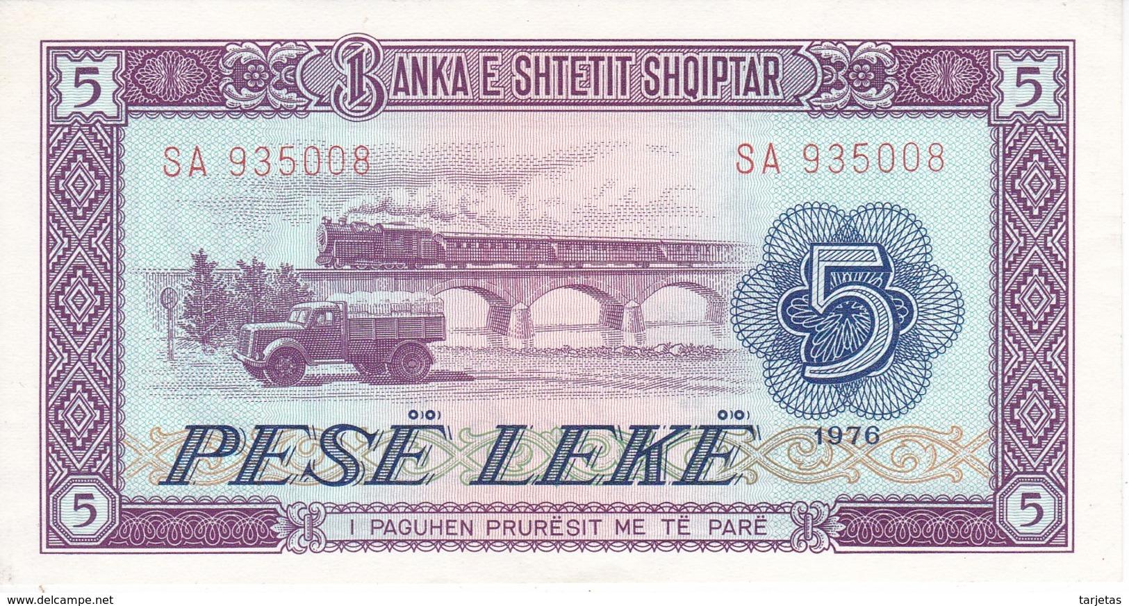 BILLETE DE ALBANIA DE 5 LEKE DEL AÑO 1976 EN CALIDAD EBC (XF) (BANKNOTE) - Albania