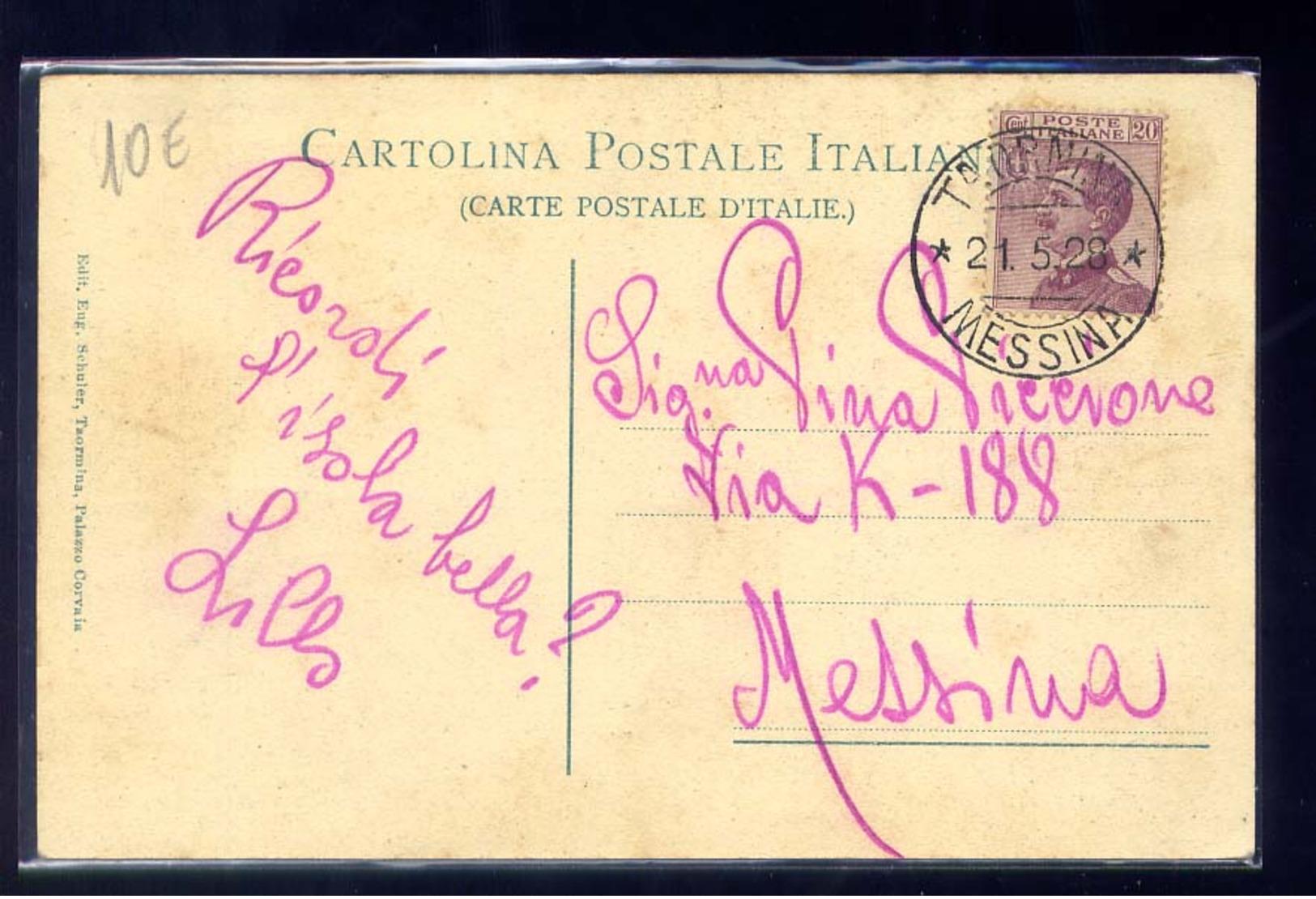 TAORMINA-ISOLA BELLA-VIAGGIATA  1928 - Messina