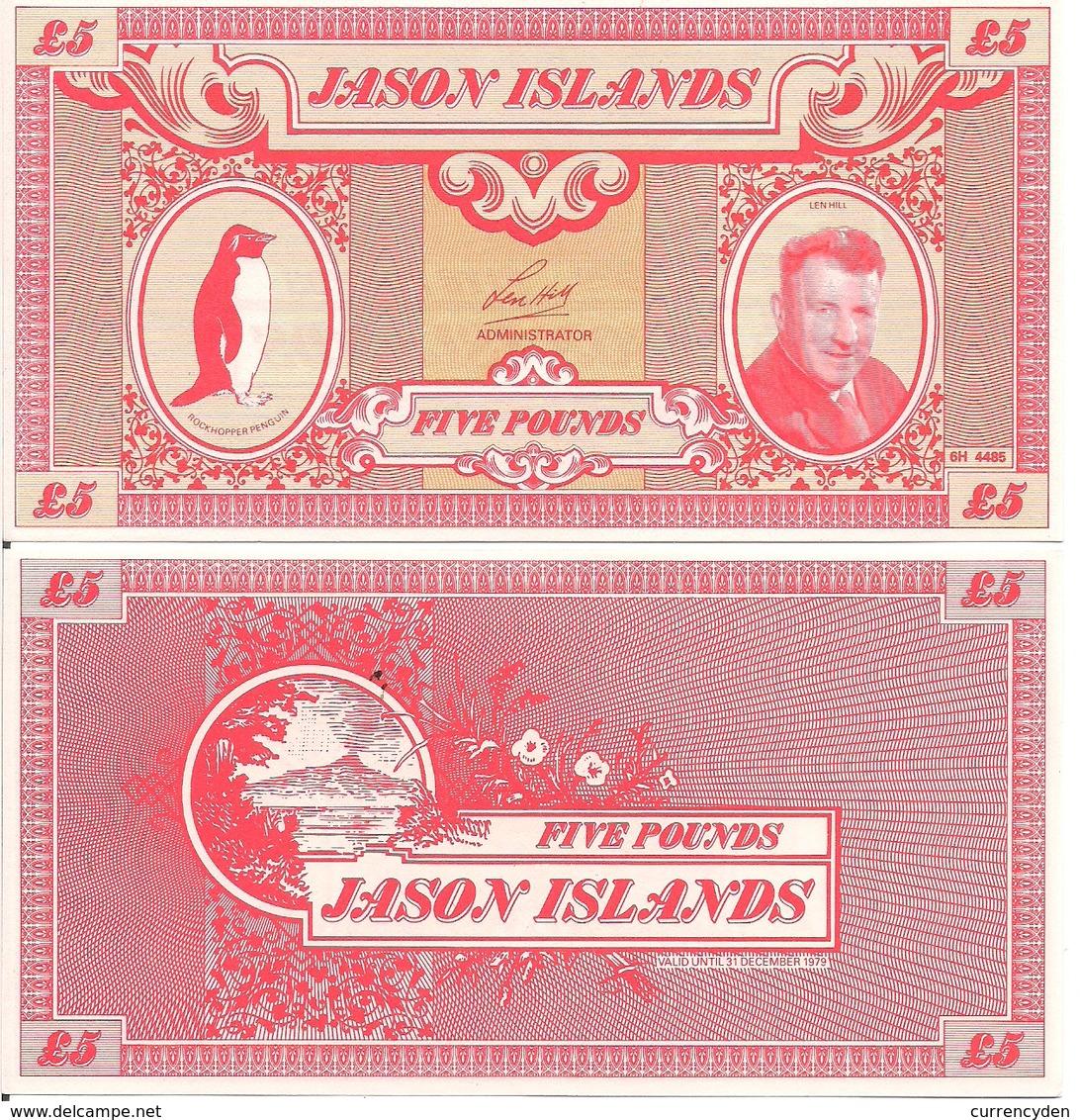 Jason Islands 5 Pounds, Rockhopper Penguin & Len Hall / Volcano, 1979, UNC - Falkland Islands