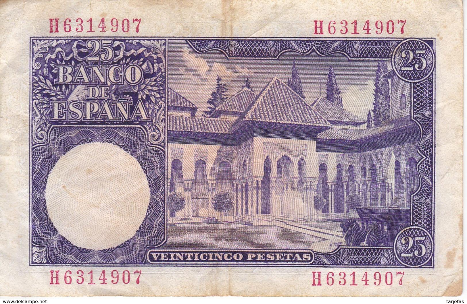 BILLETE DE ESPAÑA DE 25 PTAS DEL AÑO 1954 ISAAC ALBENIZ  SERIE H - 25 Peseten