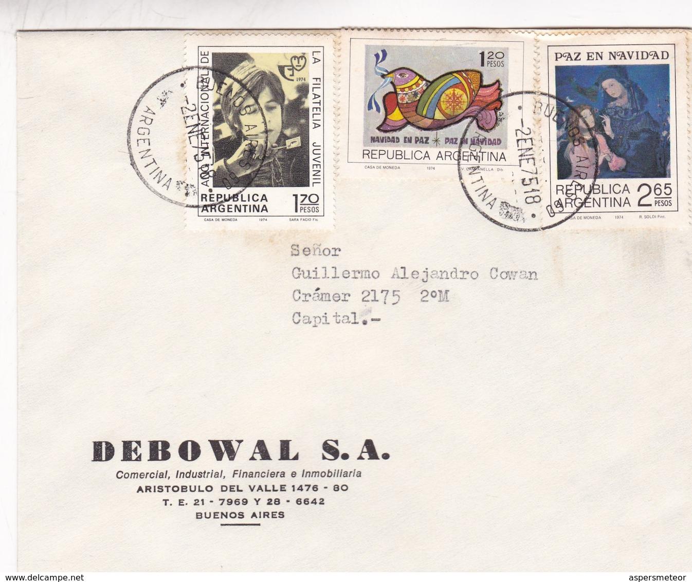 DEBOWAL SA. ENVELOPE CIRCULE BUENOS AIRES 1975 MIXED STAMPS NAVIDAD FILATELIA JUVENIL - BLEUP - Argentina