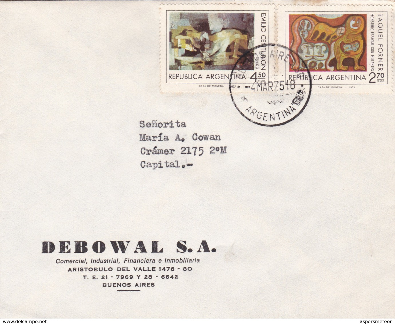 DEBOWAL SA. ENVELOPPE CIRCULEE BUENOS AIRES AN 1975 STAMPS THEMATIQUE D'ARTS - BLEUP - Lettres & Documents