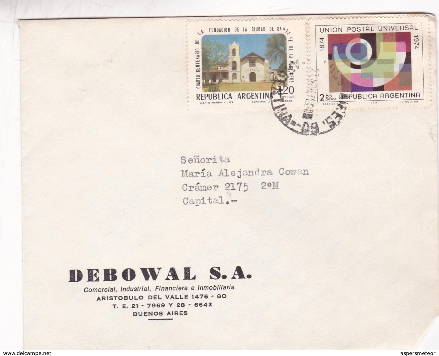 DEBOWAL SA. ENVELOPPE CIRCULEE BUENOS AIRES AN 1975 MIXED STAMPS - BLEUP - Storia Postale