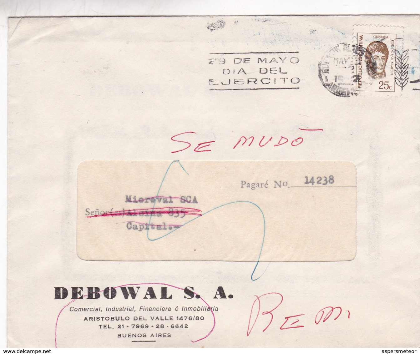 DEBOWAL SA.COMMERCIAL ENVELOPE FULL CONTENT INSIDE CIRCULEE BUENOS AIRES 1972 BANDELETA PARLANTE EJERCITO ARG - BLEUP - Argentina
