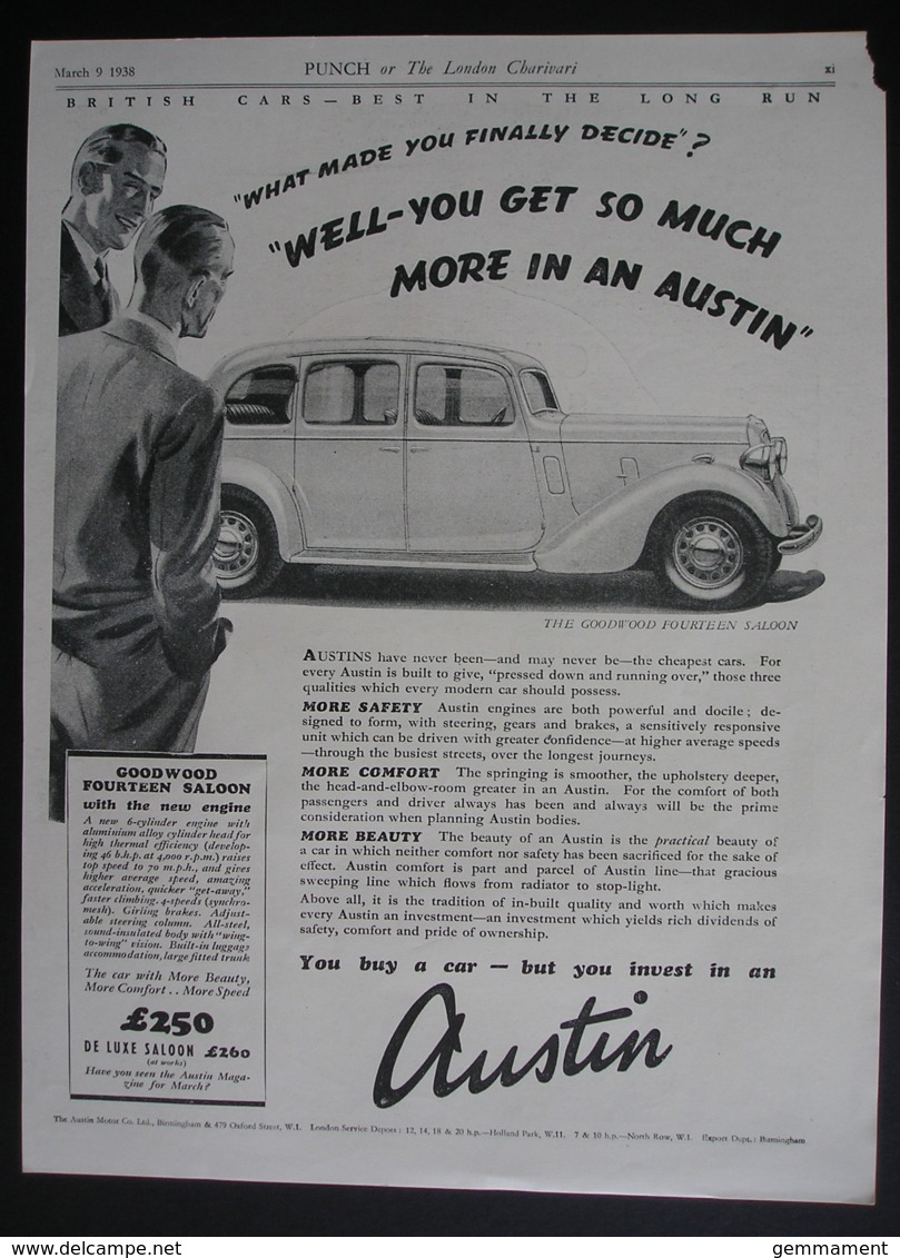 ORIGINAL 1938 MAGAZINE  ADVERT FOR AUSTIN GOODWOOD FOURTEEN SALOON CAR - Advertising