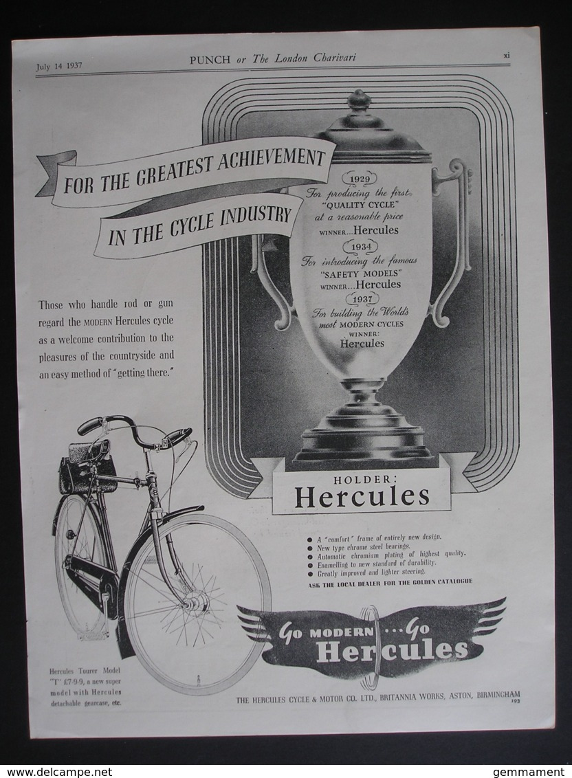 ORIGINAL1937 MAGAZINE ADVERT FOR  HERCULES BICYCLES - Other