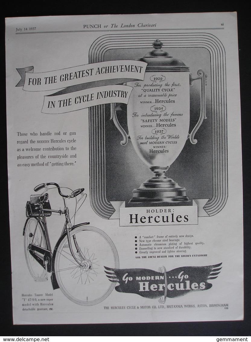 ORIGINAL1937 MAGAZINE ADVERT FOR  HERCULES BICYCLES - Advertising