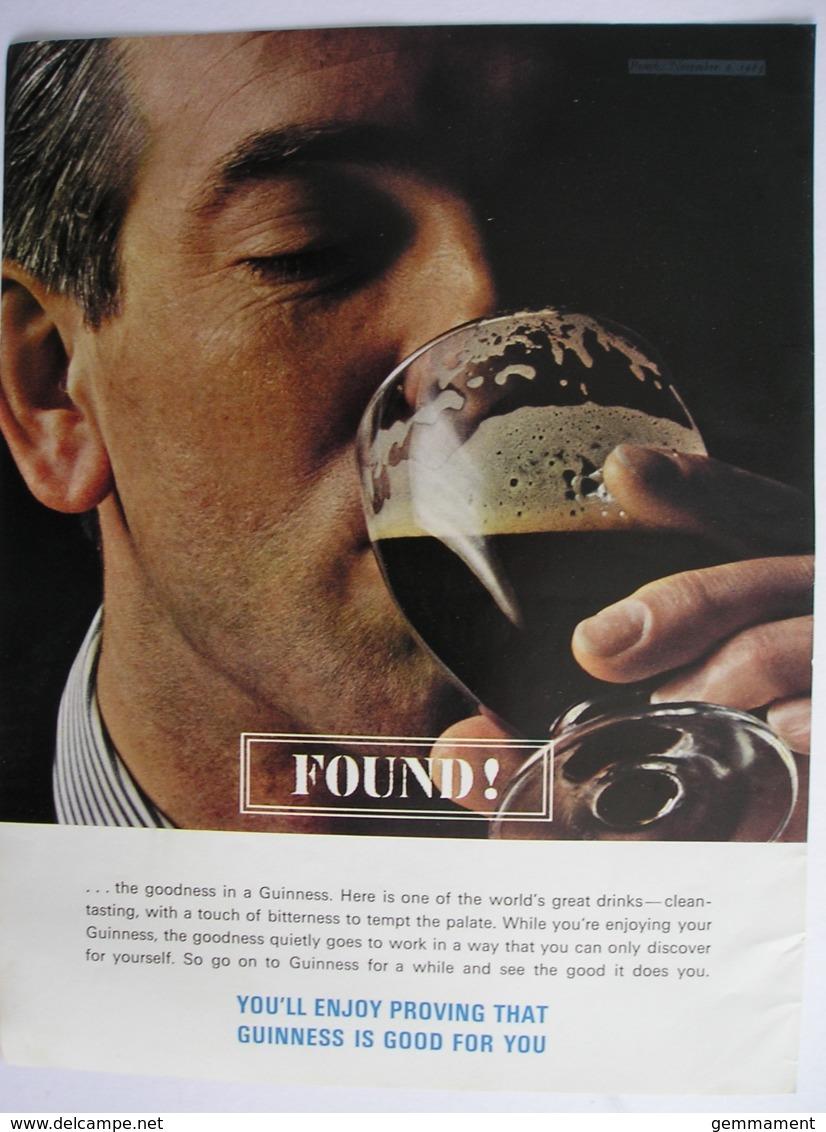 ORIGINAL1963 MAGAZINE ADVERT FOR  GUINNESS - Advertising