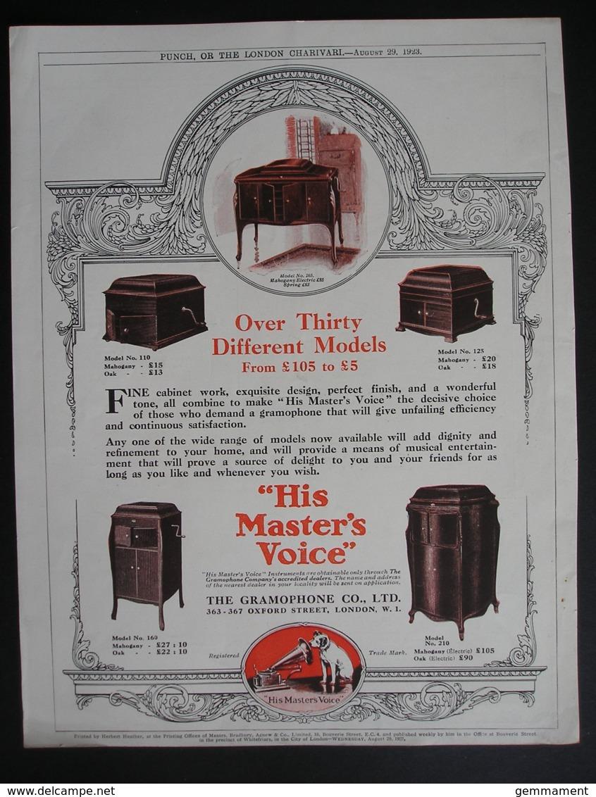 ORIGINAL1923 MAGAZINE ADVERT FOR  HIS MASTERS VOICE GRAMAPHONES - Advertising