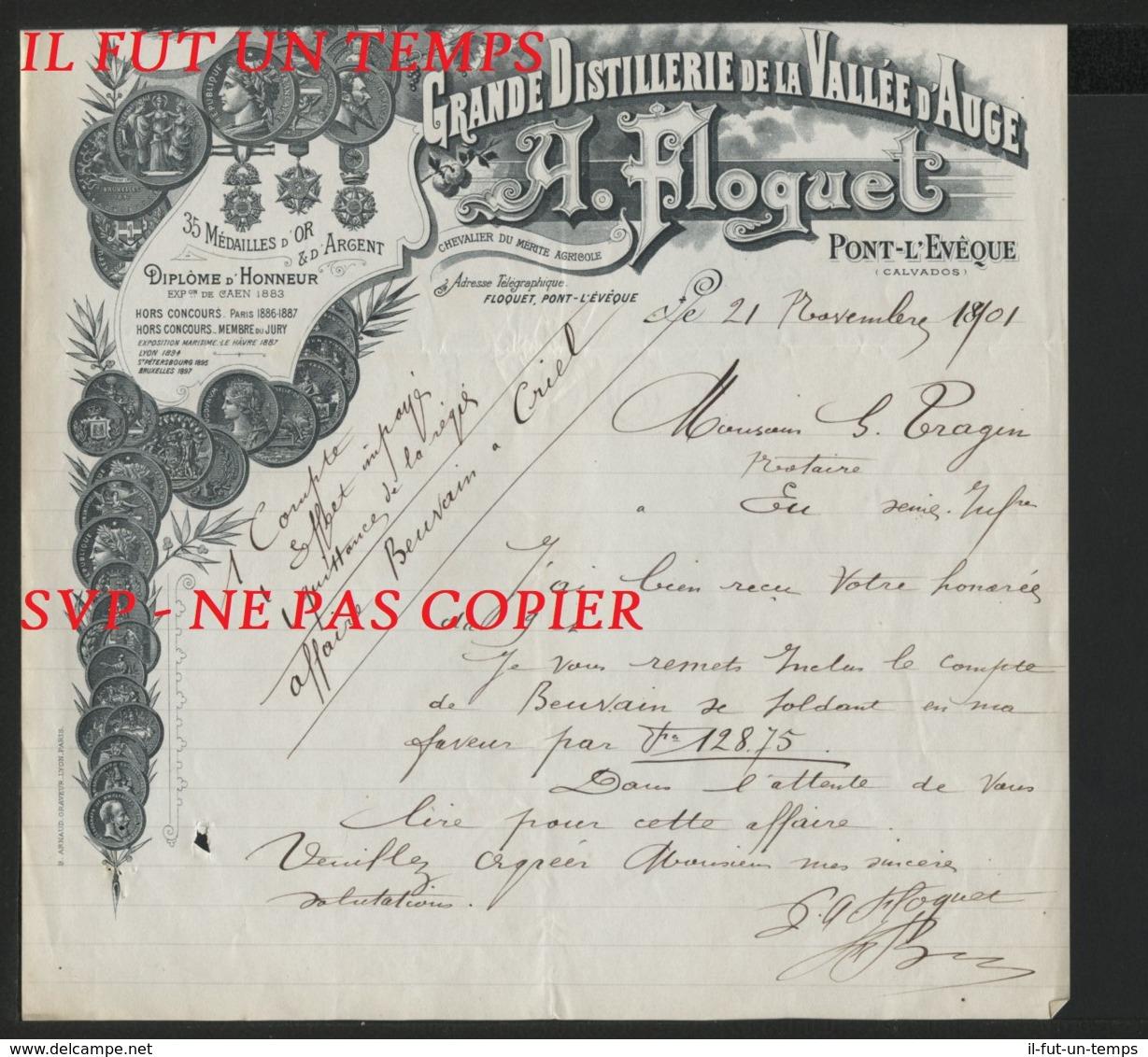 1801 / PONT L'EVEQUE / A. FLOQUET /  Grande Distillerie De La VALLEE D'AUGE - 1800 – 1899
