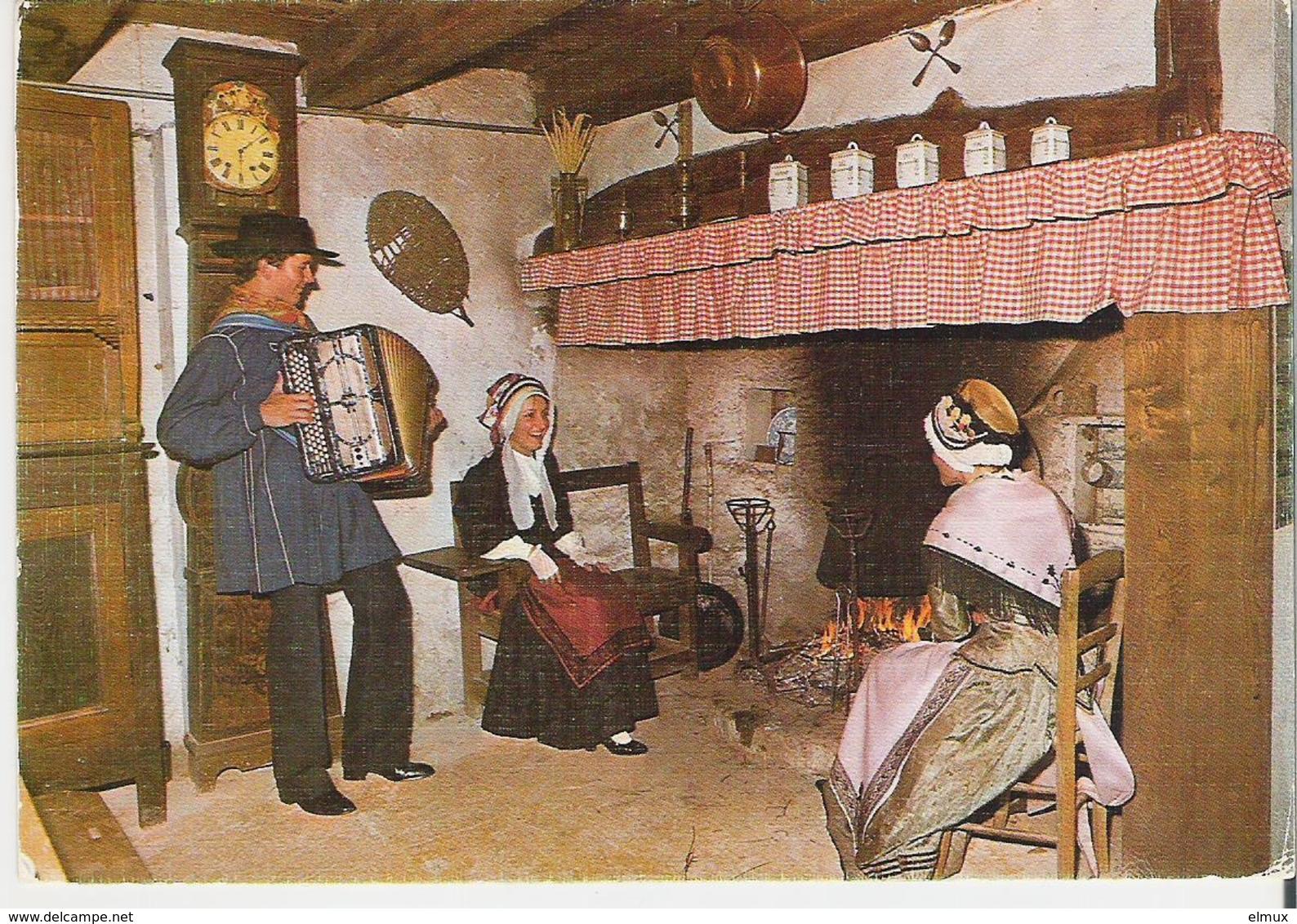 AUVERGNE. CP Folklore D'Auvergne Veillée Au Cantou Au Son De L'accordéon - Autres Communes