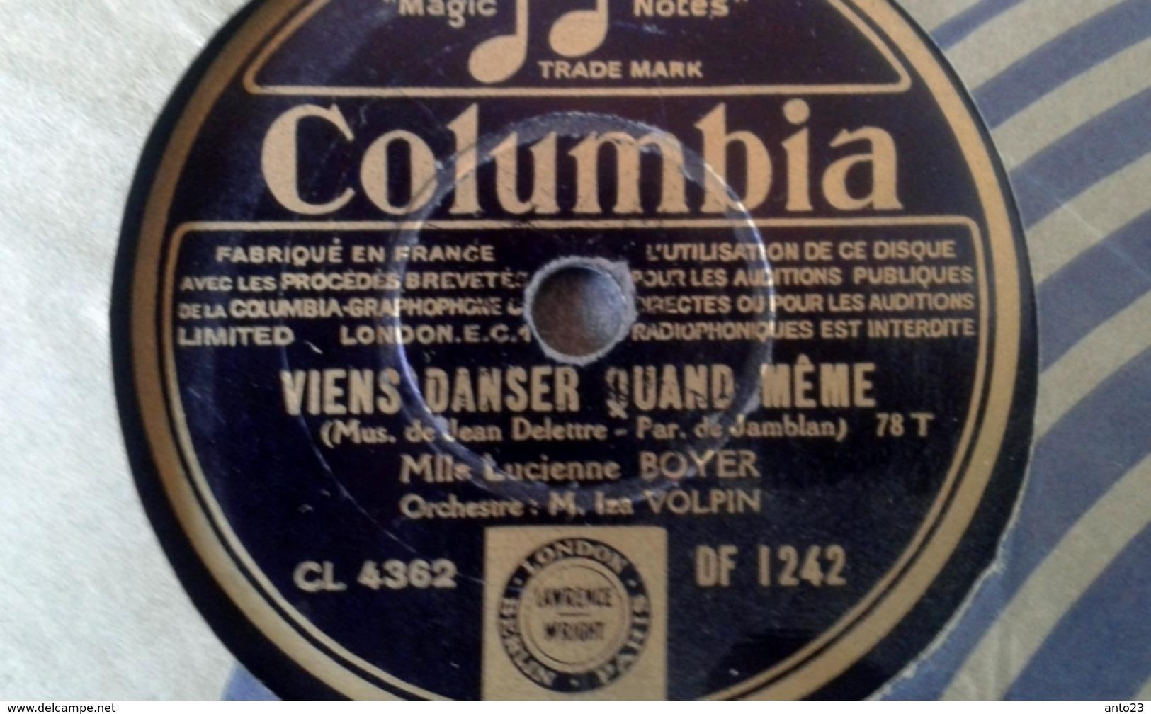 "78 Tours - DISQUE ""GRAMOPHONE"" DF 1242 VIENS DANSER QUAND MEME ET SOLITUDE  MLLE LUCIENNE BOYER - 78 G - Dischi Per Fonografi"