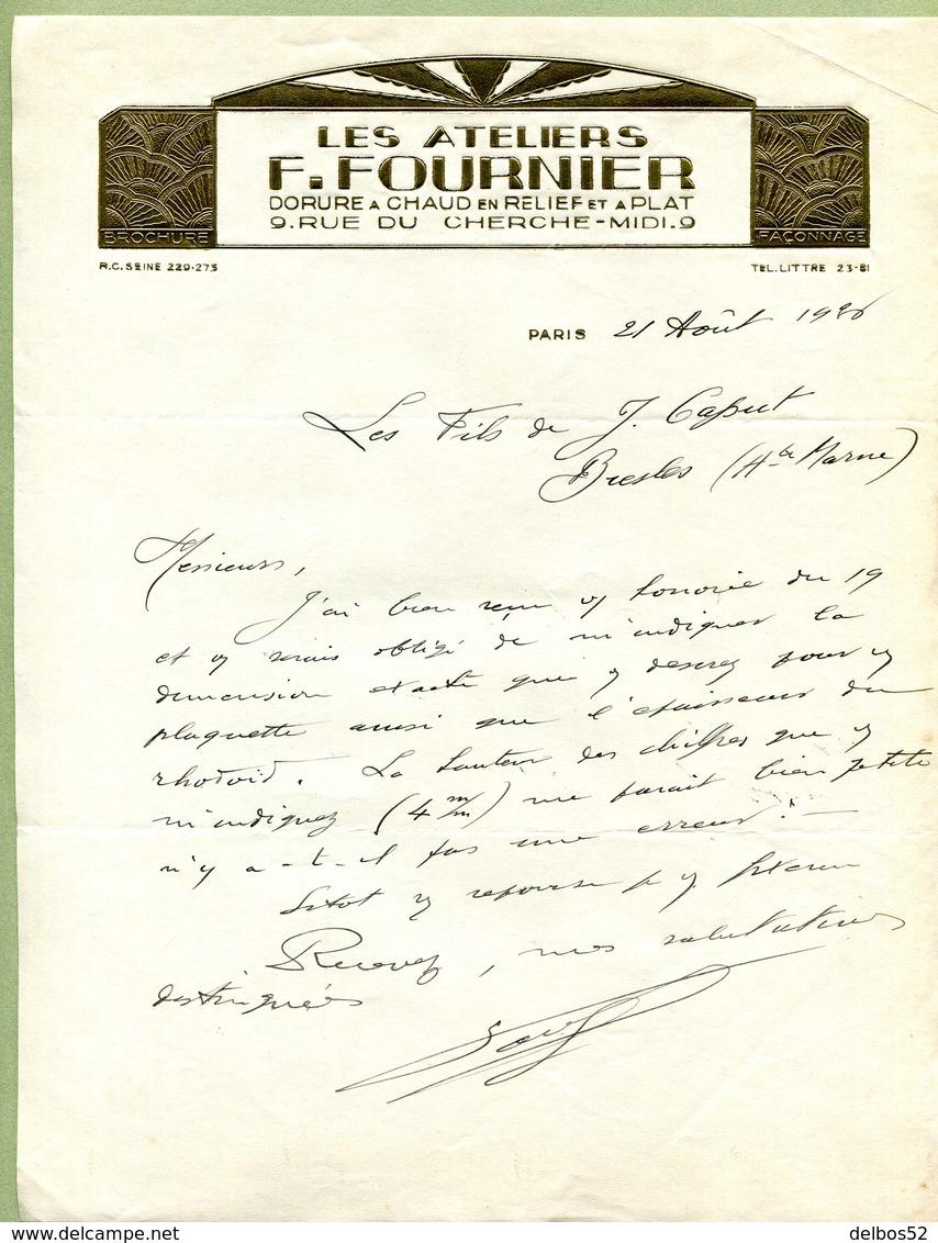 """PARIS  (75) : """" DORURE Des ATELIERS F. FOURNIER """"  1928 - France"""