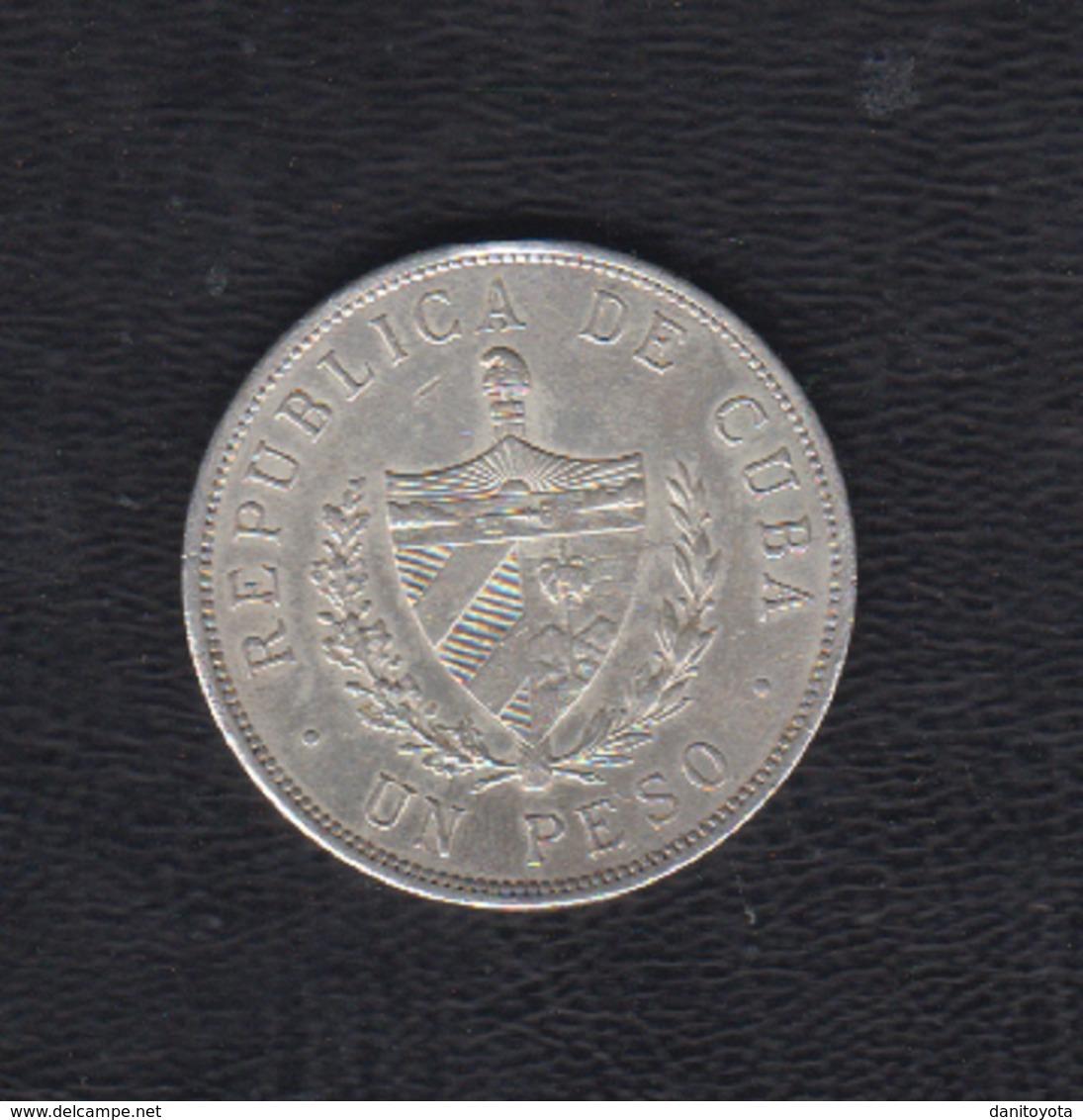 AÑO 1934.-  1 PESO PLATA.  PATRIA Y LIBERTAD. - Cuba