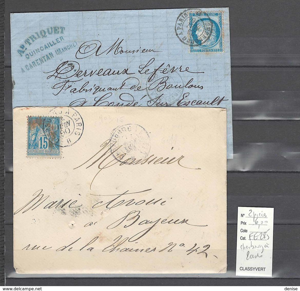 Lot   Ambulant Cherbourg à Paris - 2 Piéces - Postmark Collection (Covers)