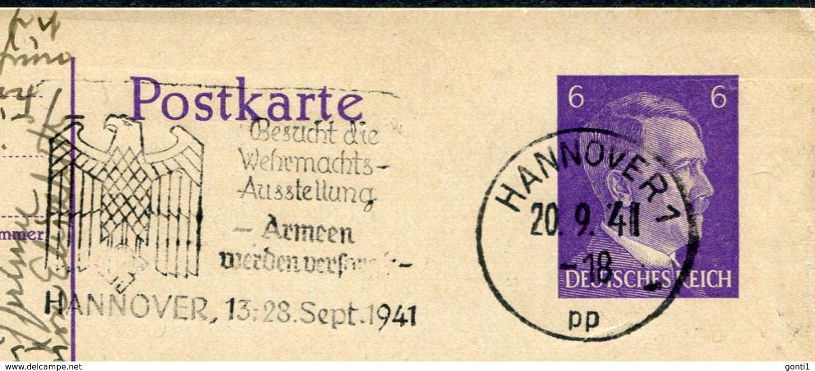 """German Empires1941 GS Mi.Nr.P299 U.Propaganda  MWST""""Hannover-Besucht Die Wehrmachts-Ausstellung-Armeen Werden....""""1Beleg - Deutschland"""