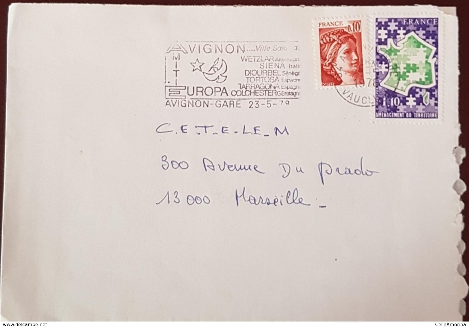 Flamme Avignon Amitié Europa 1978 - Marcophilie (Lettres)