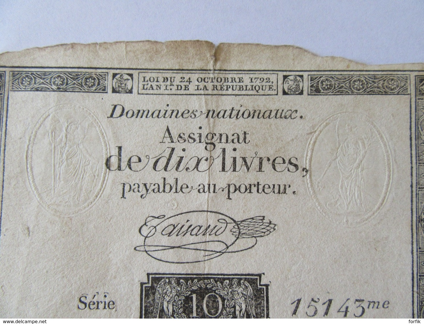 France - Assignat De 10 Livres Série 15143 - Signature Taisaud - Vers 1792 - Assignats