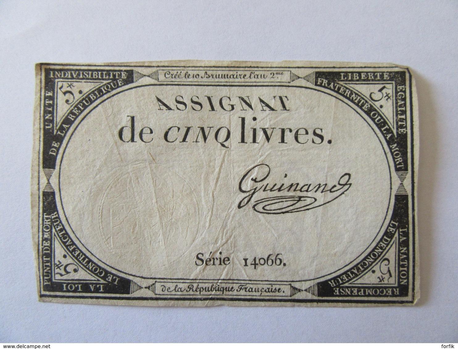 France - Assignat De 5 Livres - Série 14066 - Signature Guinand - Vers 1792 - Assignats