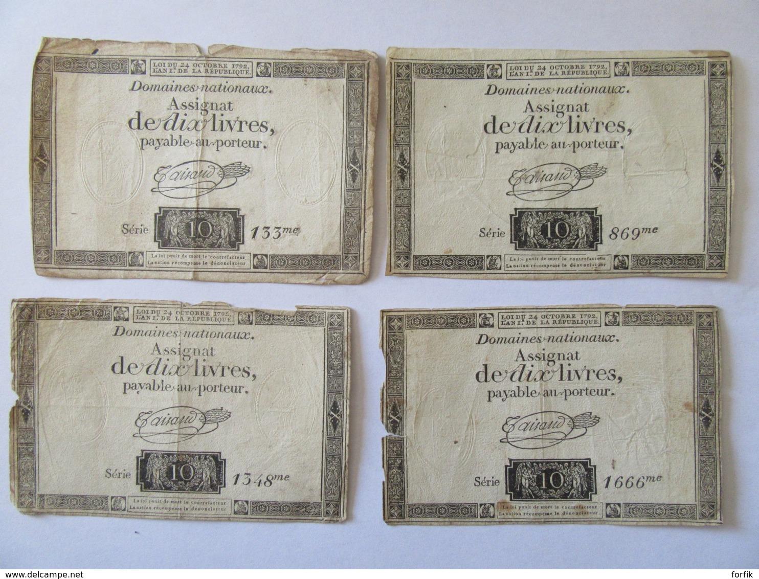 """France - Lot De 8 Assignats De Dix Livres """"Domaines Nationaux"""" - Série 133 à 5312 - Signés Taisaud - Vers 1792 - Assignats"""