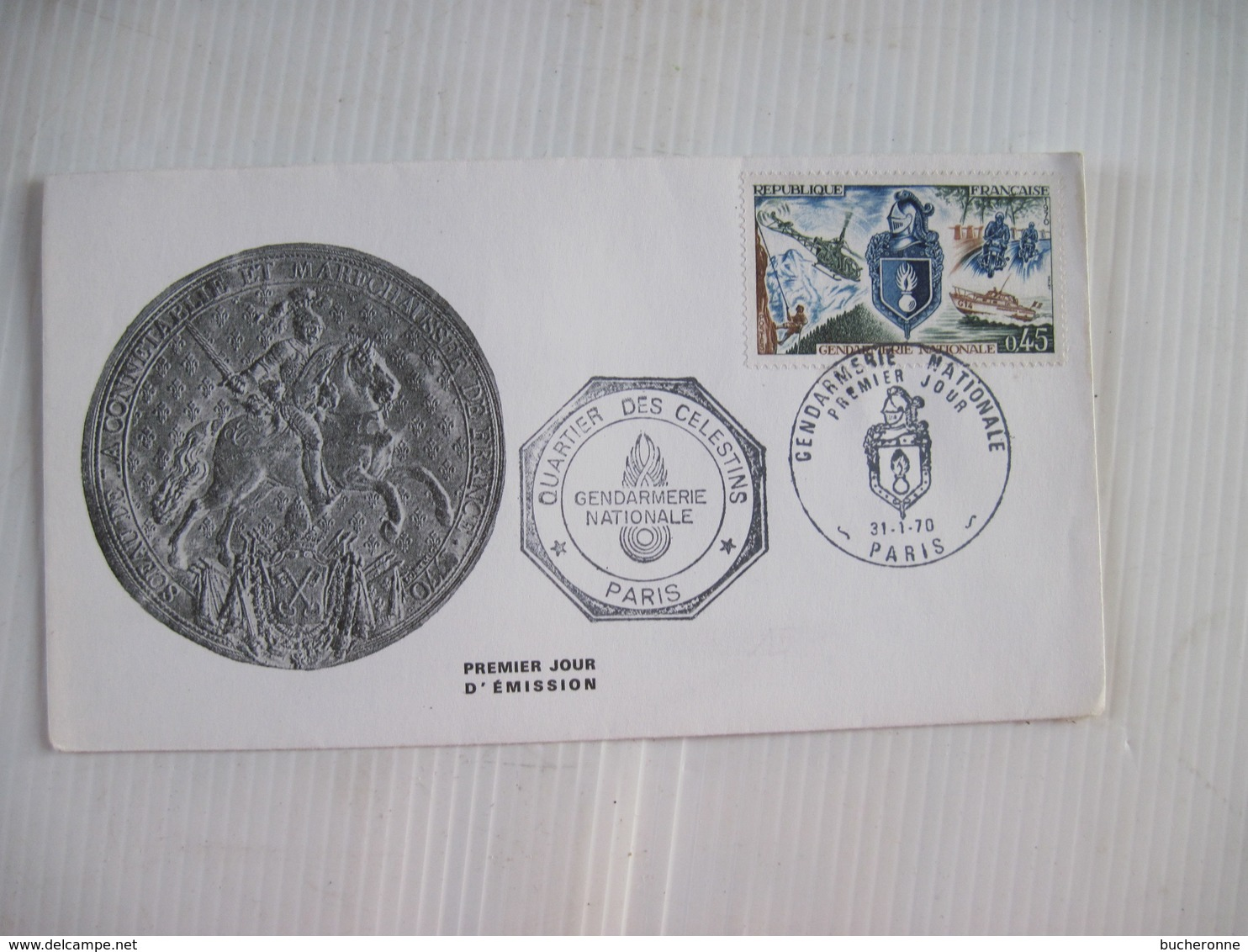 Enveloppe Premier Jour D'Emission Quartier Des Celestins GENDARMERIE NATIONALE PARIS 1970 TBE - Postmark Collection (Covers)