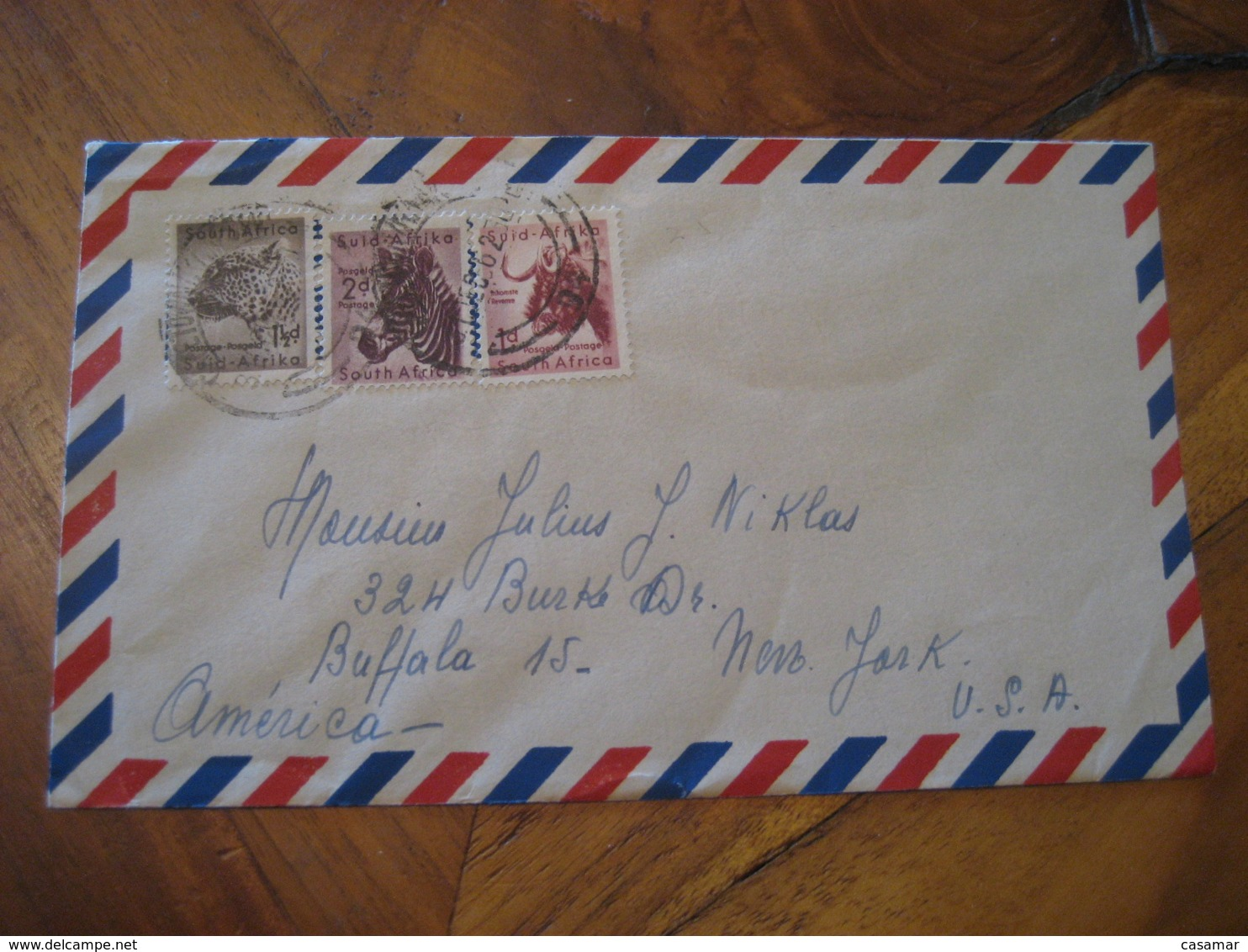 CAPE TOWN 1962 To New York USA 3 Stamp On Air Mail Cover SOUTH AFRICA - Afrique Du Sud (1961-...)