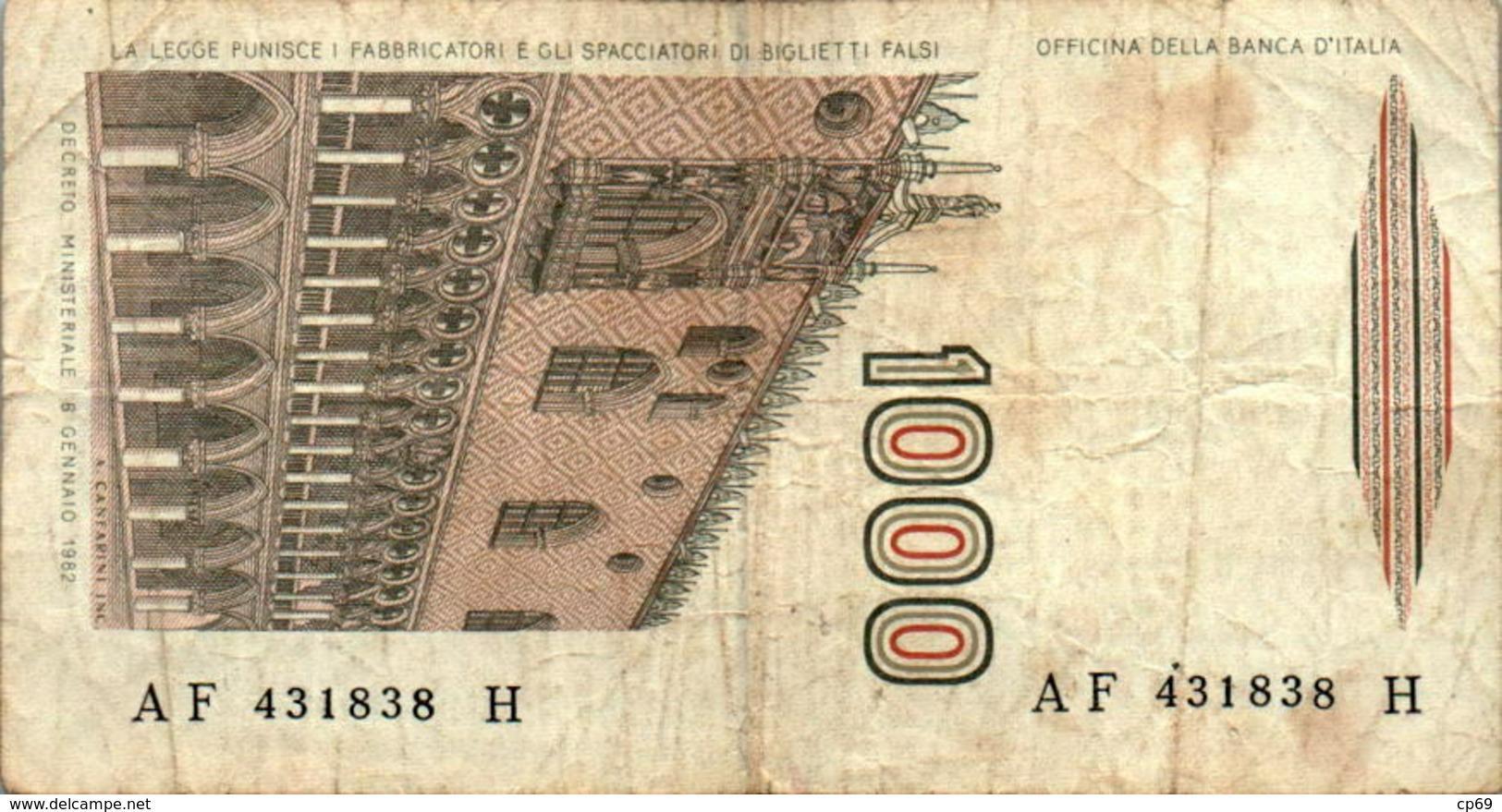 Billet De Banque Italien Italie 1000 Lire AF 431838 H Marco Polo Année 1982 B.Etat - 1000 Lire