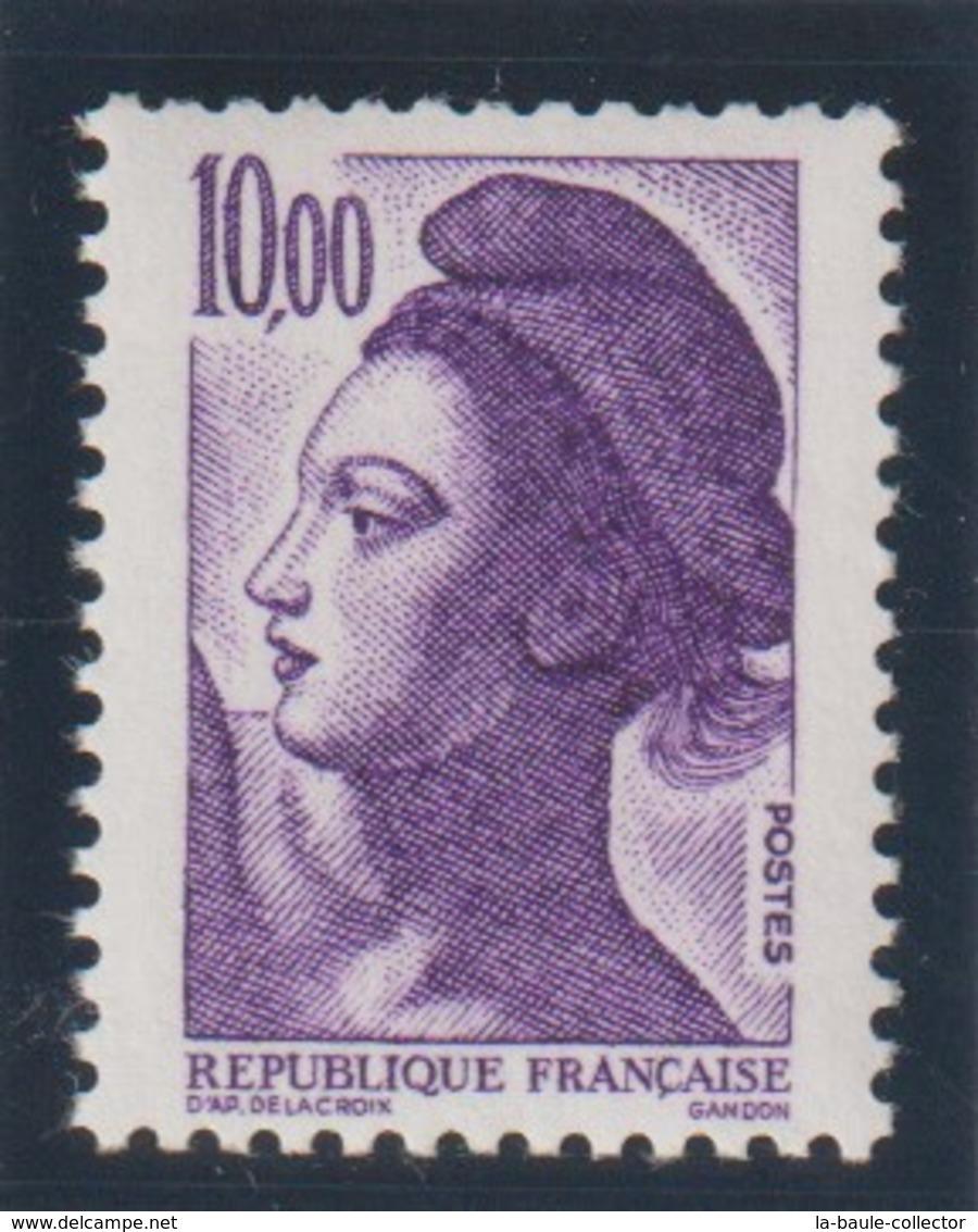 YT 2276 ** 10,00F Violet Liberté De Gandon, Sans BP, Signé - Errors & Oddities