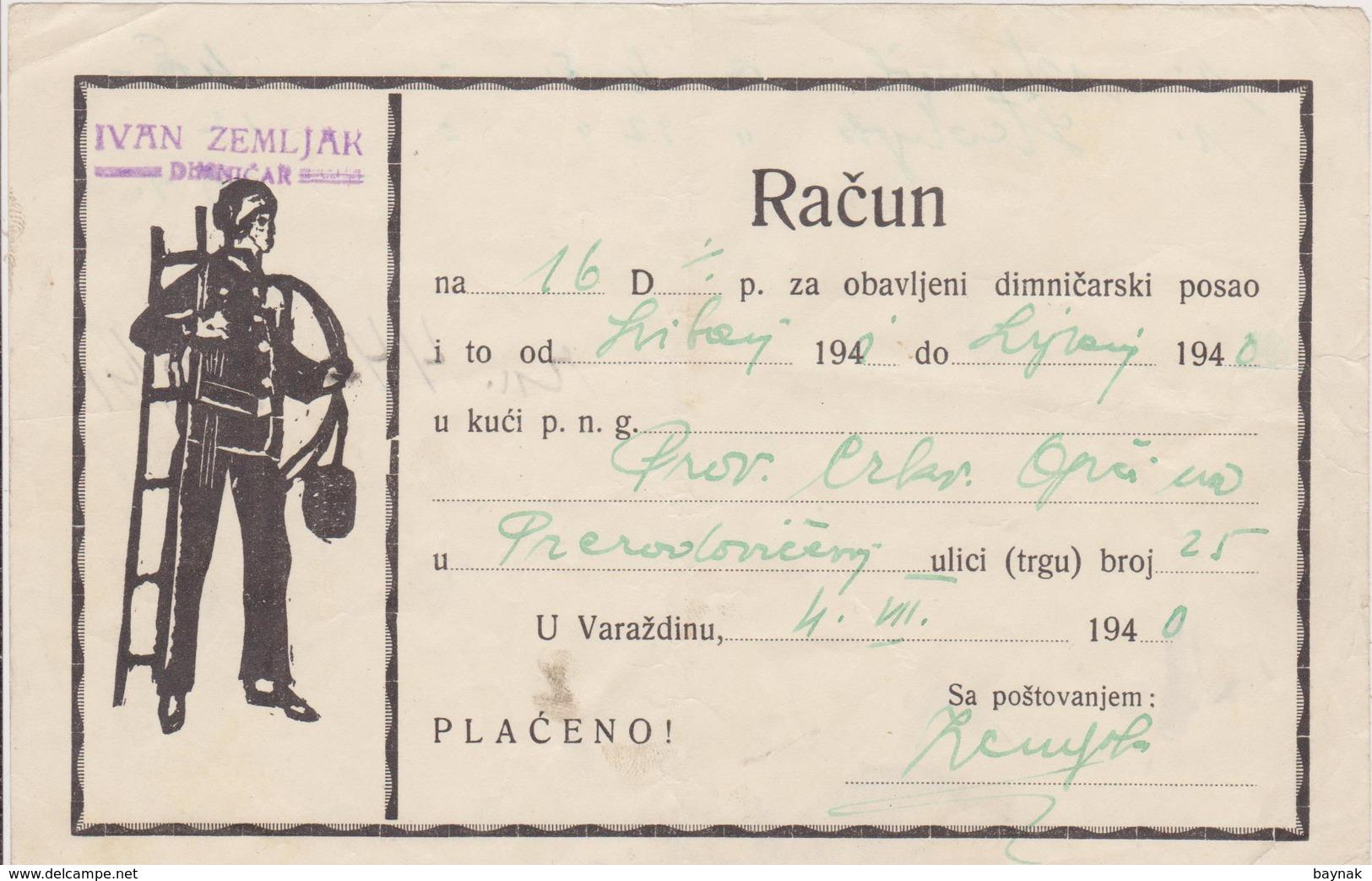 CROATIA  --  VARAZDIN  --  FACTURE, INVOICE  ~  1940 -  IVAN ZEMLJAK,  DIMNJACAR, MONEUR, CHIMNEY SWEEP - Facturen & Commerciële Documenten