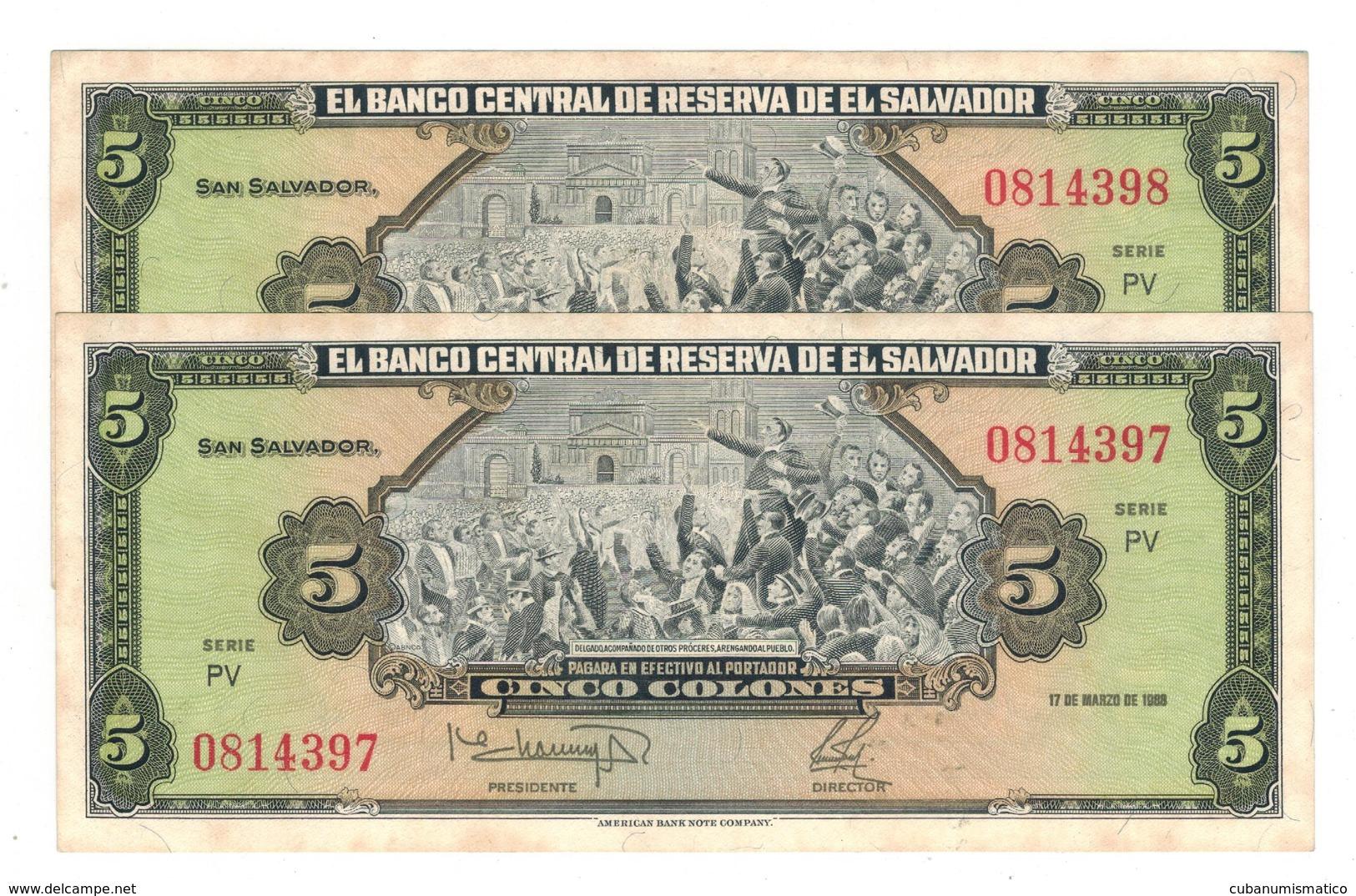 El Salvador 5 Colones 1988, X 2 Consec. AUNC. - Salvador