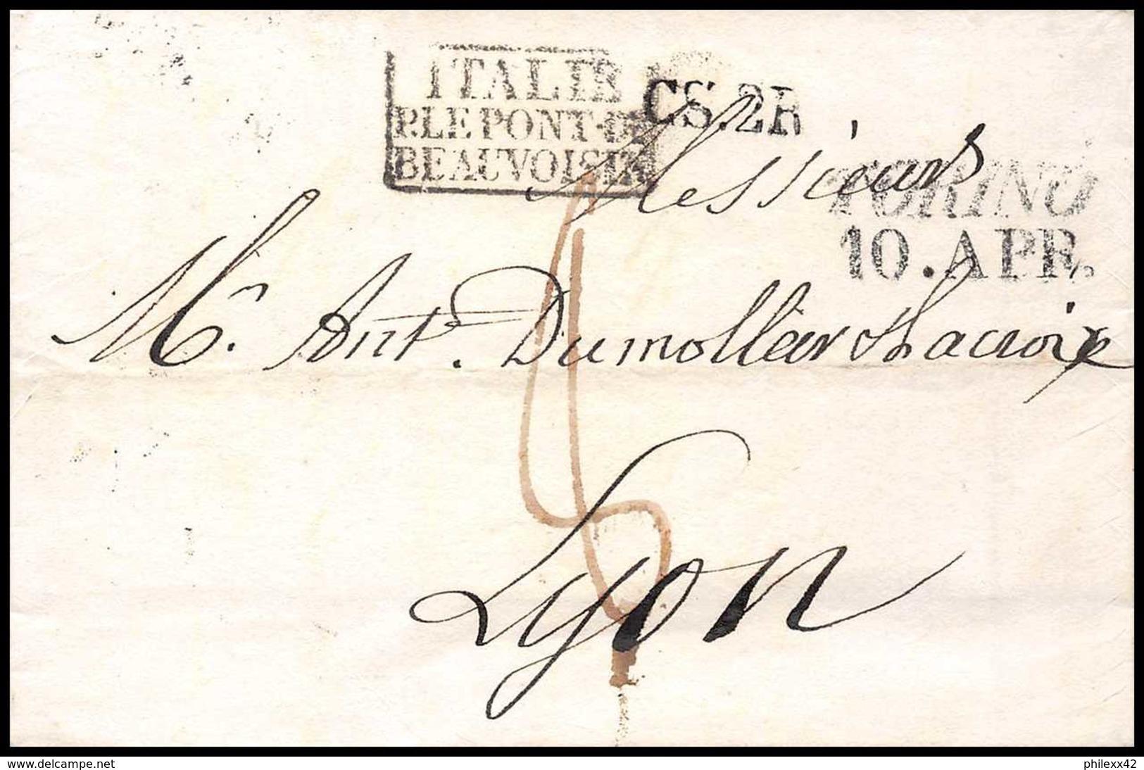 8693 LSC Marque Postale Cachet Entree 1830 Turin 10.apr Le Pont Beauvoisin Pour Lyon Par France Lettre (cover) - Marcophilie (Lettres)
