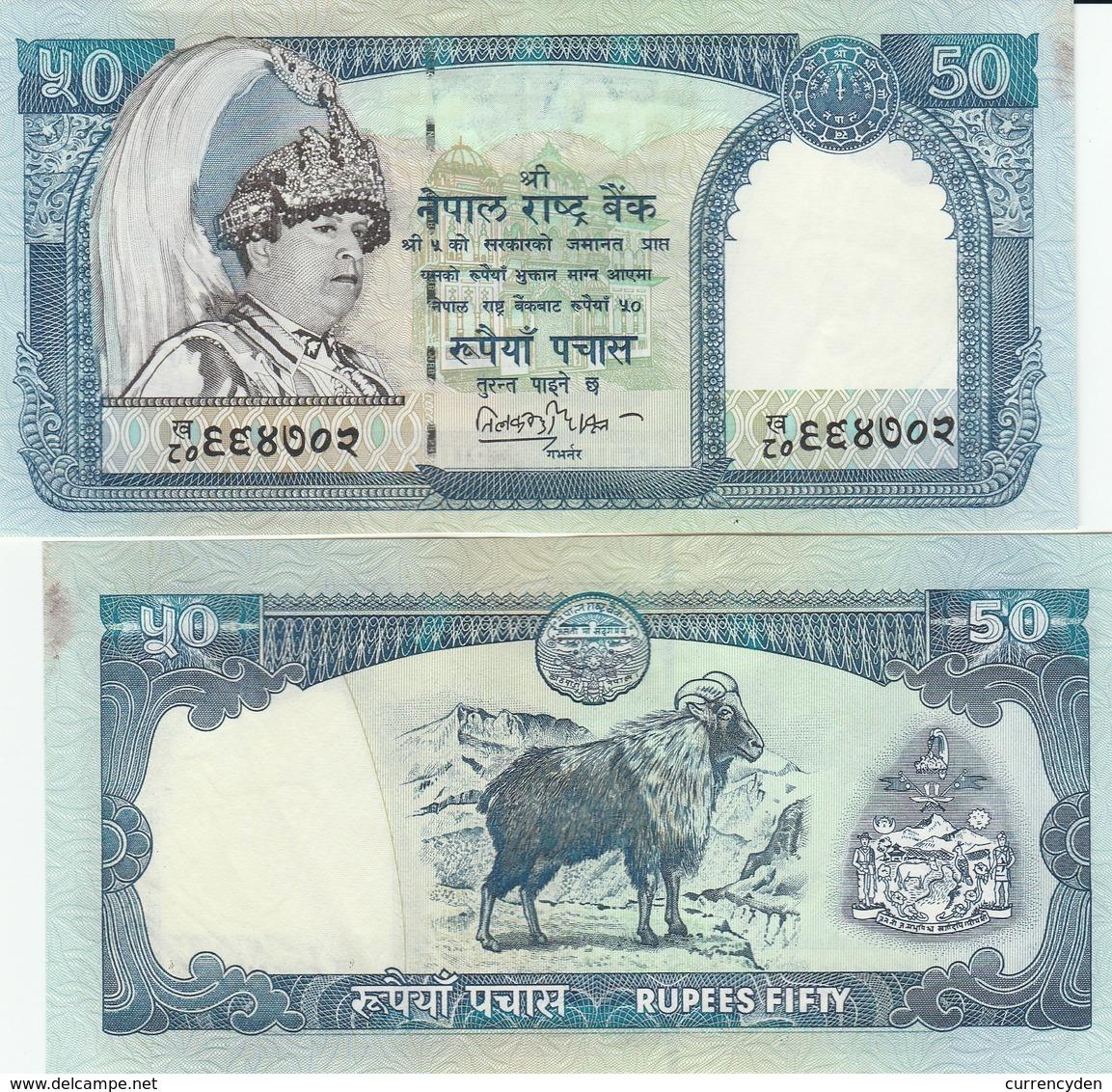 Nepal P48, 50 Rupee, King Birendra Bir Bikram, Temple / Tahr (wild Goat) UNC - Nepal