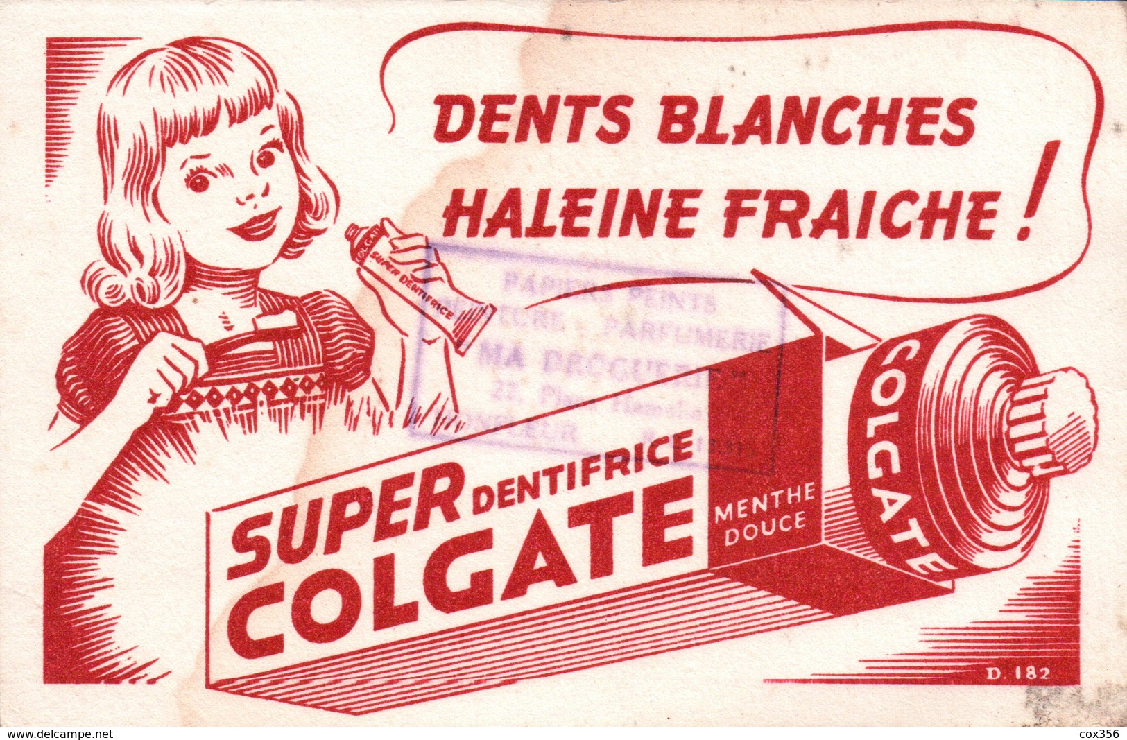 """Ancien BUVARD Illustré SUPER COLGATE  , Tampon """" MA DROGUERIE """" à HONFLEUR - Vloeipapier"""