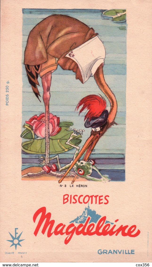 Ancien BUVARD Illustré Biscottes MAGDELEINE à GRANVILLE .le HERON - Biscottes