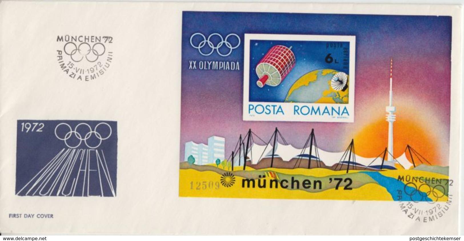 Rumänien - Olympiade München 1972 Olympiastadion Block 98 Schmuck-FDC - Unclassified