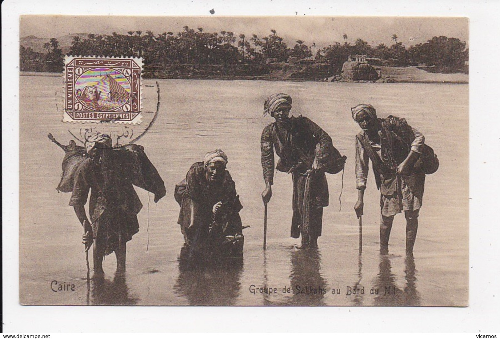 CPA EGYPTE Groupe De Sakkahs Au Bord Du Nil - Egypt