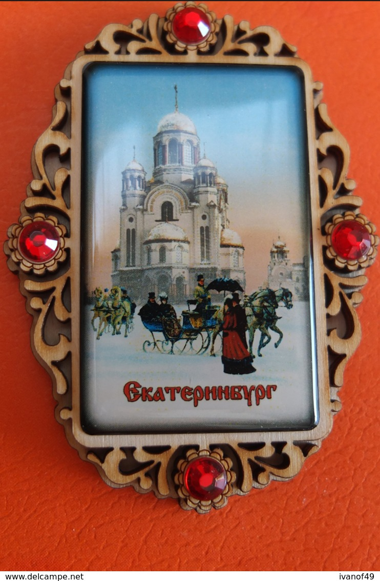 Magnet - RUSSIE - Ekaterinbourg - Eglise, Traineau, Neige TBE - Magnets