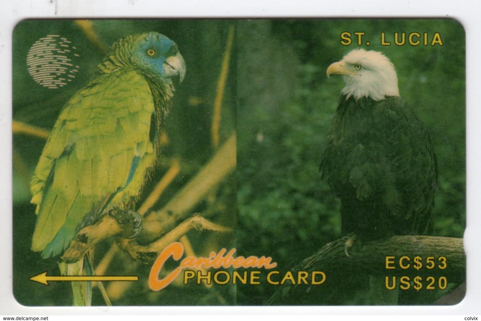 SAINTE LUCIE REF MV CARDS STL-14E Année 1994 20$ 14CSLE PARROT AND EAGLE - Santa Lucía
