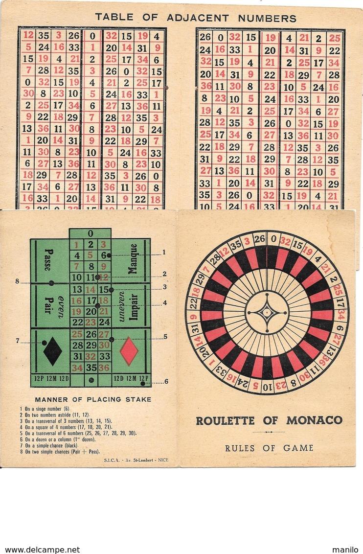 REGLE DU JEU - ROULETTE OF MONACO Avec TABLE OF ADJACENT NUMBERS - Autres Collections