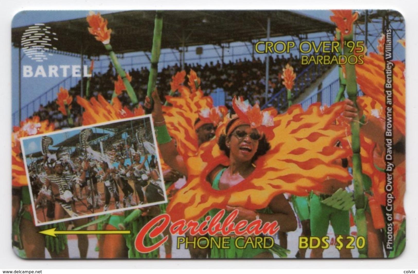BARBADES CARAIBES MV Cards BAR-87A  20B$ CN 87CBDA CROP OVER 95 - Barbades