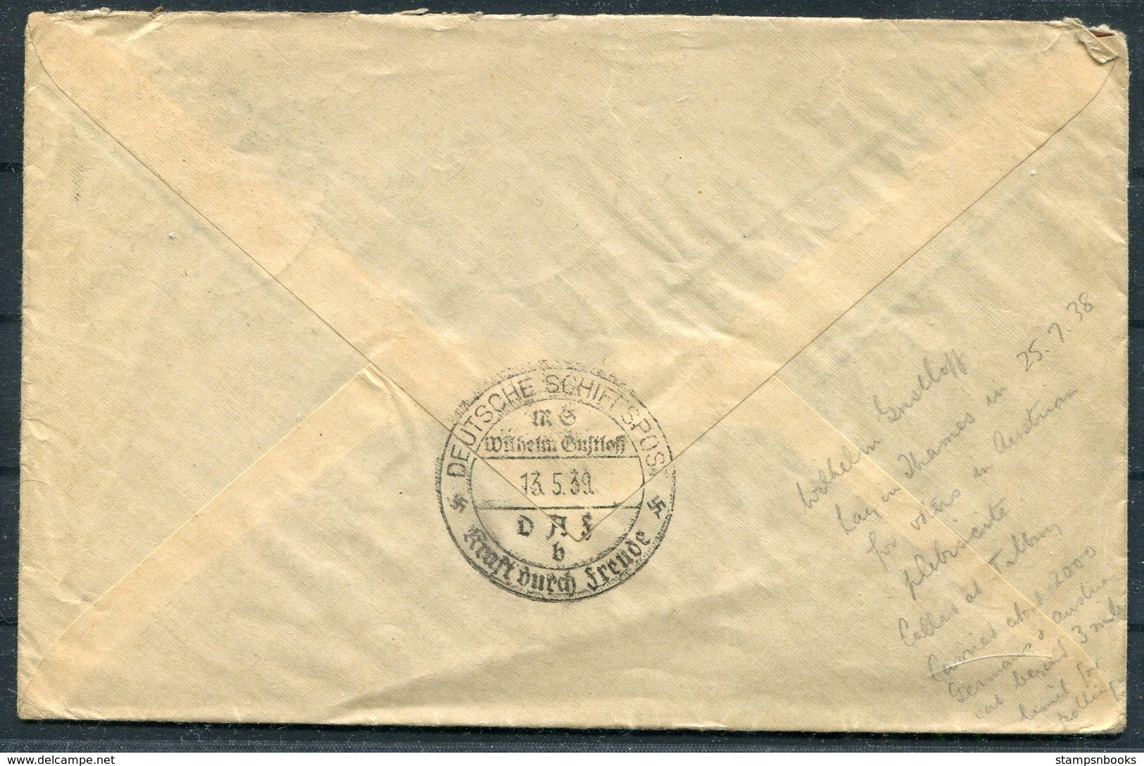 1939 Germany Deutsche Schiffspost D.A.S. Ship Kraft Durch Freude Cover - Wien Austria - Briefe U. Dokumente