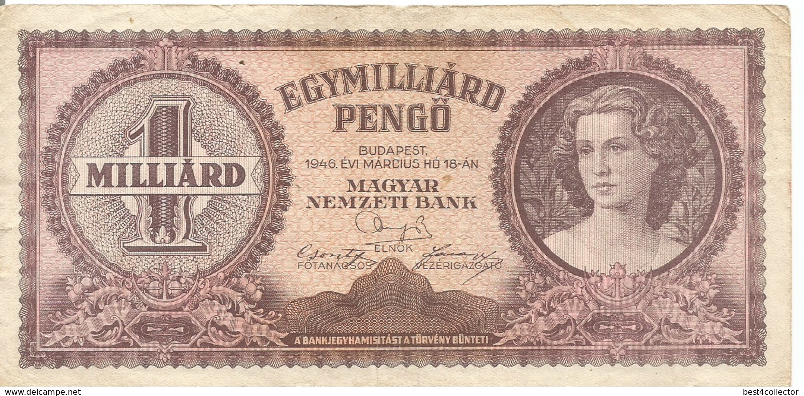 Ungheria Egymilliard Pengö  1946 Bank Note - Hungary