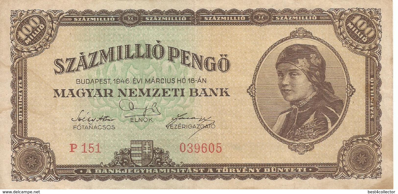 Ungheria Szazmillio Pengö  1946 Bank Note - Hungary