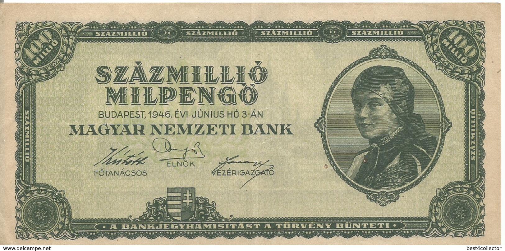 Ungheria Szazmillio Pengö  1946 Bank Note - Hongrie