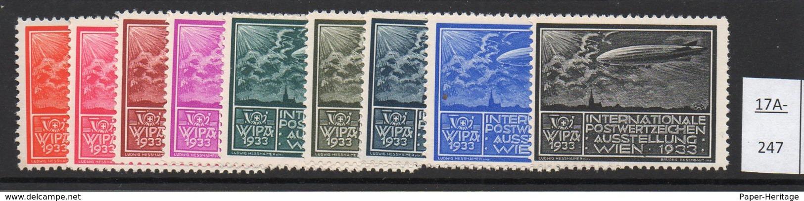 Austria 1933 WIPA Reklamemarke MNH : Nine Different Colours :  Zeppelin Dirigeable Airship Church Kirche Eglise - 1918-1945 1st Republic