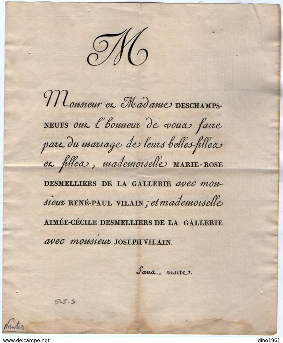 VP14.623 - NANTES 1806 - Généalogie - Faire - Part De Mariage De Melles DESMELLIERS DE LA GALLERIE Avec Mrs VILAIN - Mariage