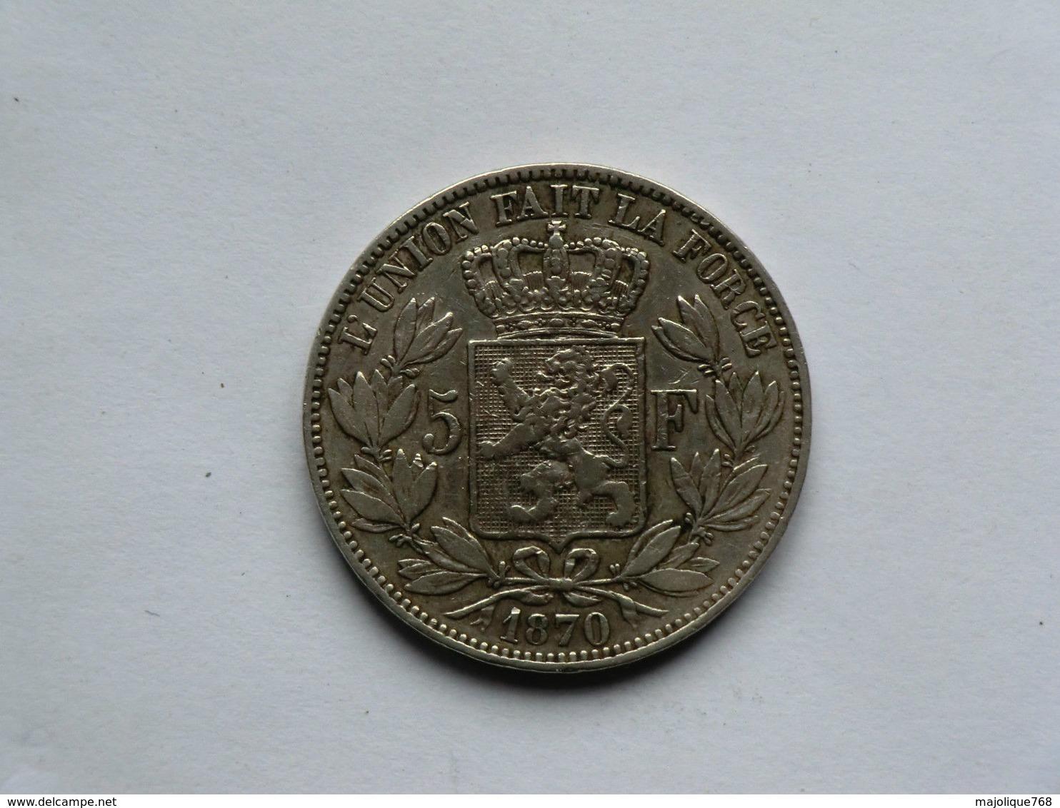 Monnaie De Belgique - 5 Francs Léopold II Roi De Belges Argent 1870 - 09. 5 Francs