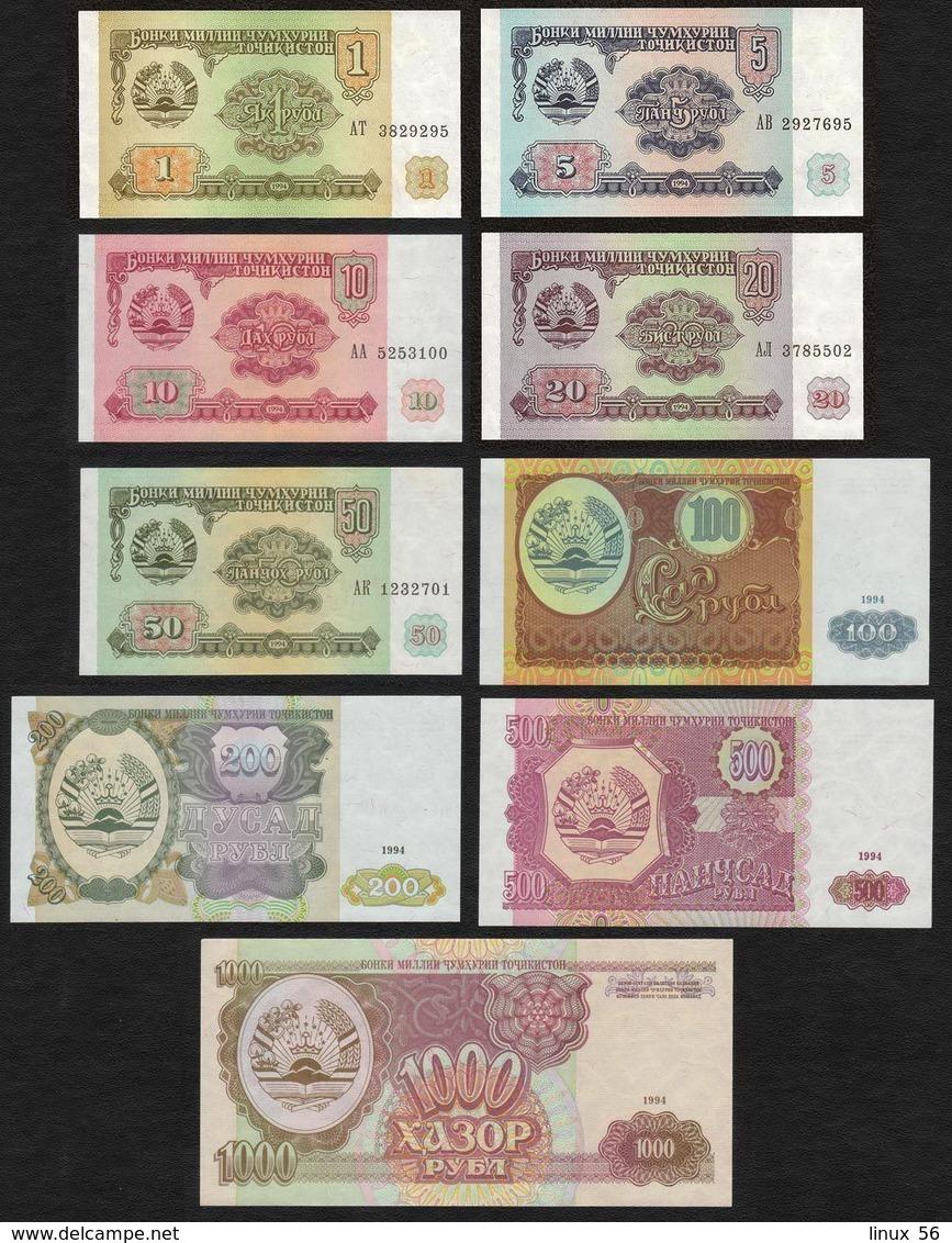 TAJIKISTAN - 1+5+10+20+50+100+200+500+1.000 Rubles 1994 UNC P.1+2+3+4+5+6+7+8+9 - Tajikistan